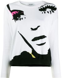 Liu Jo Face Print Jumper - White