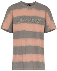 Liam Hodges Logo Printed And Bleached Cotton T-shirt - Grey