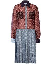 Burberry モノグラムプリント シャツドレス - ブルー
