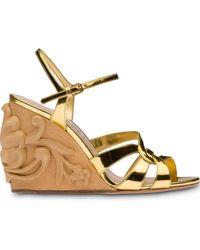 Miu Miu Women's Calzature Donna Strappy Wedge Sandals - Metallic