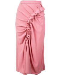 Sies Marjan ラッフルミディスカート - ピンク