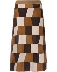P.A.R.O.S.H. Patchwork Suede A-line Skirt - Brown
