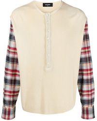 DSquared² Check-panel Cotton Sweater - White
