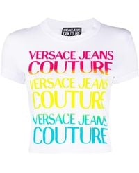 Versace Jeans Couture Укороченная Футболка С Логотипом - Белый