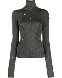 Christopher Kane Crystal-embellished Roll-neck Lamé Sweater - Gray