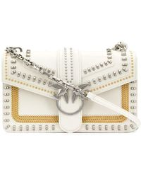 Pinko Love Mini Mix Studs Crossbody Bag Grigio Argento - White