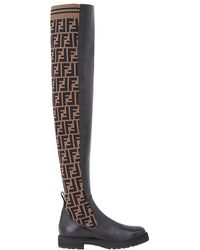 Fendi - Ff Motif Thigh-high Boots - Lyst