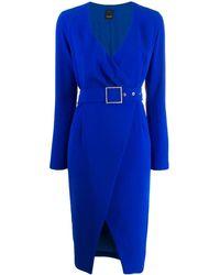 Pinko Vestido cruzado con cinturón - Azul