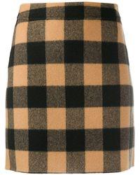 Sandro Check Mini Skirt - Brown