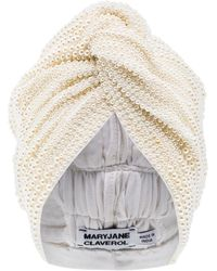 MaryJane Claverol Turban mit Kunstperlen - Weiß