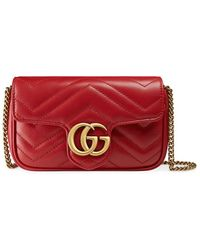 Gucci GG Marmont Matelass� Leather Super Mini Bag - Rood