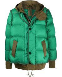 Sacai Manteau à design superposé - Vert