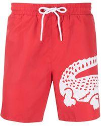 Lacoste Crocodile-print Swim Shorts - Red