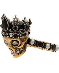 Alexander McQueen Gold and silver metallic crystal embellished queen skull ring - Métallisé