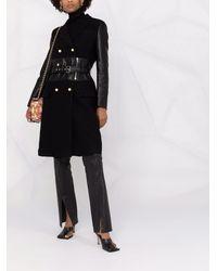 Moschino Двубортное Пальто Со Вставками - Черный