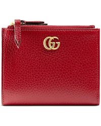 Gucci Leren Portemonnee GG Marmont - Rood