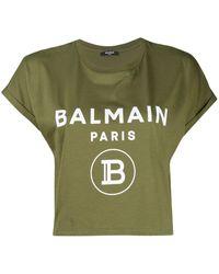 Balmain ロゴ クロップドtシャツ - グリーン