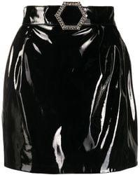 Philipp Plein Лакированная Мини Юбка - Черный