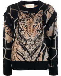Ferragamo タイガーインターシャ セーター - ブラック