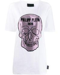 Philipp Plein Платье-футболка С Декором Skull - Белый