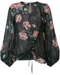 Pinko Blusa Ancora con estampado floral - Negro