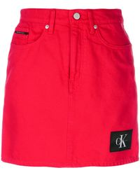 Calvin Klein Jeans | Logo Patch Fitted Skirt | Lyst