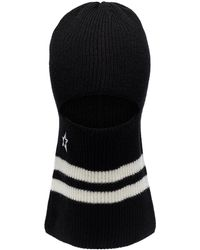 Perfect Moment Ribbed-knit Vertical-stripe Balaclava - Black