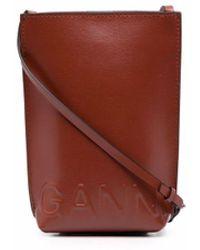Ganni Mini pochette à logo embossé - Marron
