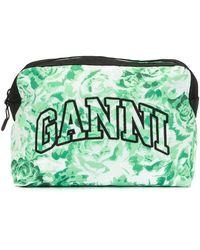 Ganni Косметичка С Вышитым Логотипом И Цветочным Принтом - Зеленый