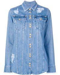 Balmain Chemise en jean à effet délavé - Bleu