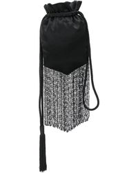 Galvan London Cascade Beaded Fringed Pouch - Black