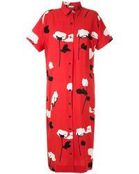 Osklen Floral Print Shirt Dress - Red