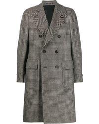 Lardini Двубортное Пальто В Клетку - Серый