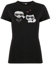 Karl Lagerfeld T-shirt Met Print - Zwart