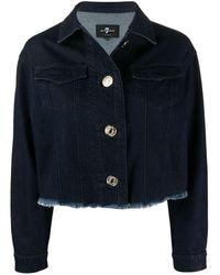 7 For All Mankind Frayed-hem Cropped Denim Jacket - Blue