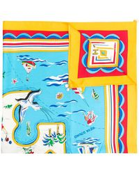 Tory Burch Island Print Square Scarf - Yellow