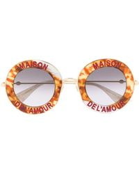 Gucci - Abstract Pattern Round Frame Sunglasses - Lyst