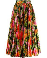Richard Quinn Floral Print Pleated Skirt - Orange