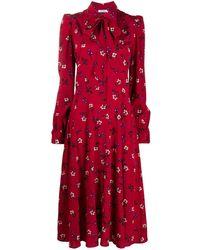 P.A.R.O.S.H. Robe-chemise mi-longue à fleurs - Rouge