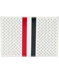 Thom Browne - Single Card Holder With Red, White And Blue Vetrical Stripe In Perforated Pebble Grain & Calf Leather - Lyst