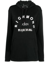John Richmond Logo Print Hoodie - Black