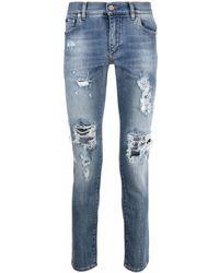 Dolce & Gabbana Skinny-Jeans mit Logo-Schild - Blau