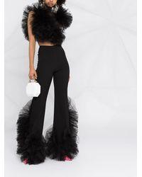 Loulou Mesh-detail Straight Leg Pants - Black