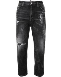 DSquared² High Rise Ripped Crop Jeans - Zwart