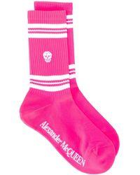 Alexander McQueen Stripe Skull Sport Socks - Pink