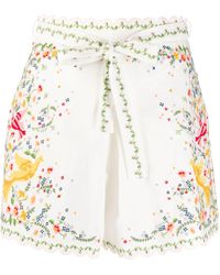 Zimmermann Embroidered High-waisted Shorts - White