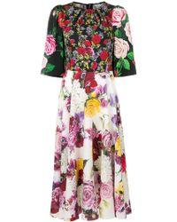 Dolce & Gabbana - フローラル ミディドレス - Lyst