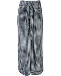 Ganni Check Printed Crepe Midi Skirt - Blue