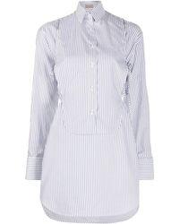 Mrz Detachable-bib Striped Shirt - White