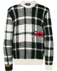 CALVIN KLEIN 205W39NYC Logo Embroidered Check Knit Sweater - Black